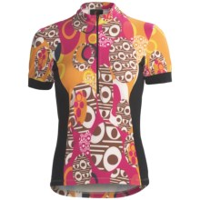 Sheila Moon Winter Weight Cycling Jersey - Zip Neck, Short Sleeve (For Women) in Sahara - Closeouts