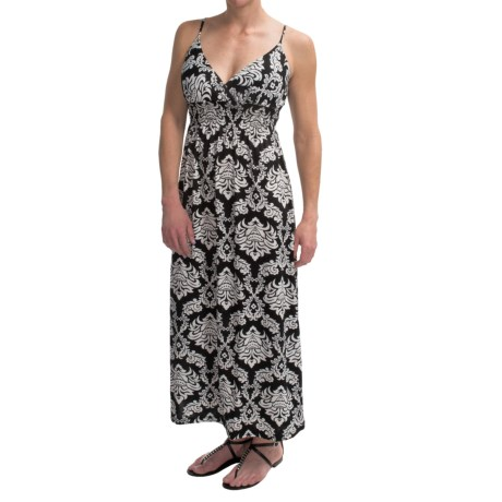 She's Cool Maxi Spaghetti Strap ITY Knit Dress (For Women) in Black White Leaf