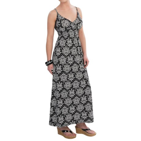 She's Cool Maxi Spaghetti Strap ITY Knit Dress (For Women) in Black/White Medallion