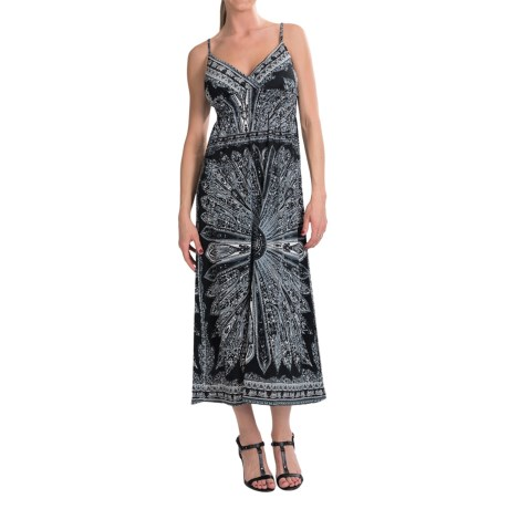 She's Cool Maxi Spaghetti Strap ITY Knit Dress (For Women) in Black/White