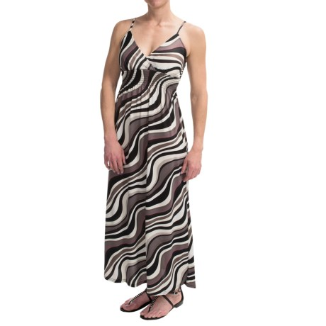 She's Cool Maxi Spaghetti Strap ITY Knit Dress (For Women) in Grey Swirl