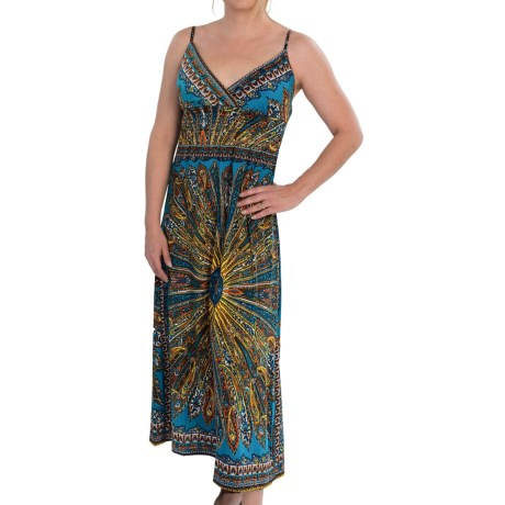 She's Cool Maxi Spaghetti Strap ITY Knit Dress (For Women) in Teal
