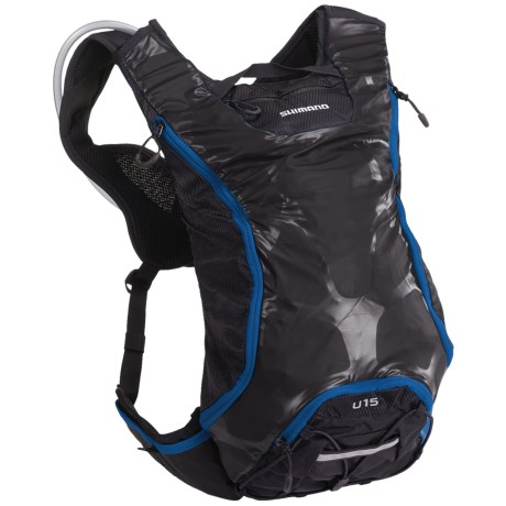 Shimano Accu3D Unzen 15L Hydration Pack - 70 fl.oz. in Ash Black/Lightning Blue