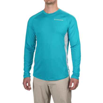Shimano Castor Tech T-Shirt - UPF 30+, Long Sleeve (For Men and Big Men) in Cyan - Closeouts