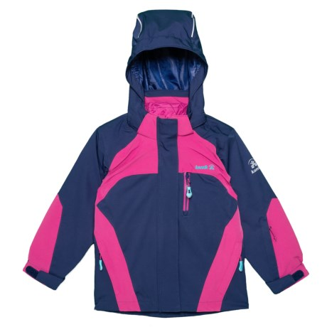 Shine Down Jacket - Waterproof, Insulated, 3-in-1 (For Girls) - NAVY/PINK (4 )
