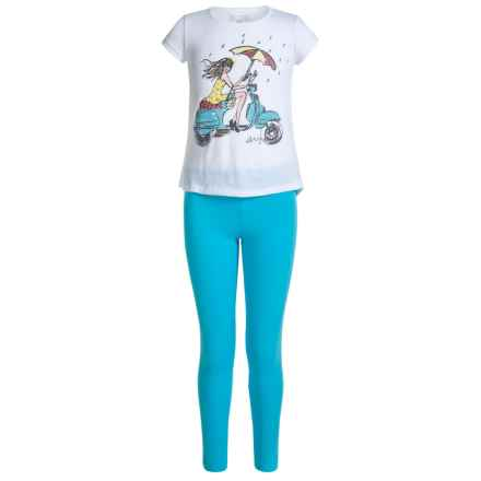 Shirt and Leggings Set - 2-Piece Set, Short Sleeve (For Big Girls) in Bright White - Closeouts