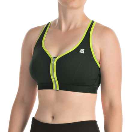 Shock Absorber Active Zipped Plunge Sports Bra - High Impact, Racerback (For Women) in Black/Green - Closeouts