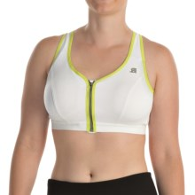 Shock Absorber Active Zipped Plunge Sports Bra - High Impact, Racerback (For Women) in White/Green - Closeouts
