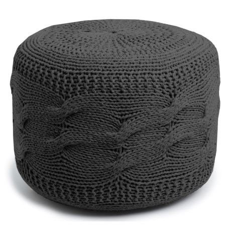 """Shyam Exports Cable-Knit Pouf Ottoman -16x22"""" in Charcoal"""