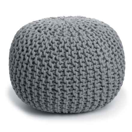 "Shyam Exports Majestic Pouf Ottoman - 16x20"" in Medium Grey - Closeouts"