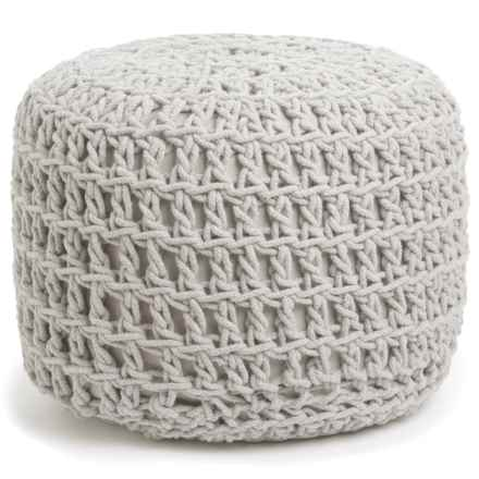 "Shyam Exports Natural Crochet Knot Pouf Ottoman - 16x22"" in Natural - Closeouts"