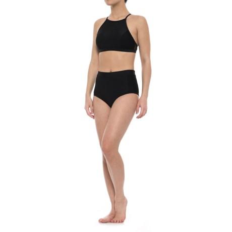 SIA Mesh High-Neck Cross-Back Bikini Set (For Women) in Black