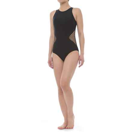 SIA Mesh One-Piece Swimsuit - Removable Padded Cups (For Women) in Black - Closeouts