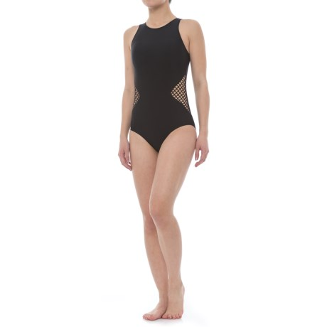 SIA Mesh One-Piece Swimsuit - Removable Padded Cups (For Women) in Black