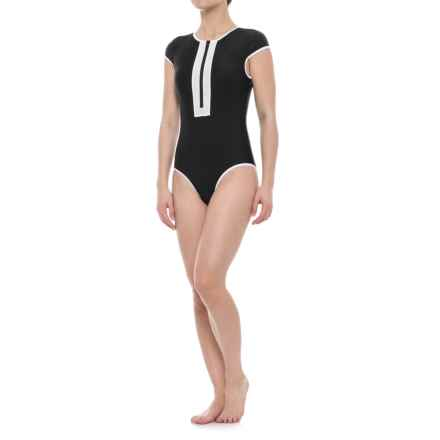 SIA Sia Cap Sleeve Zip-Front One-Piece Swimsuit - Removable Padded Cups (For Women) in Black - Closeouts