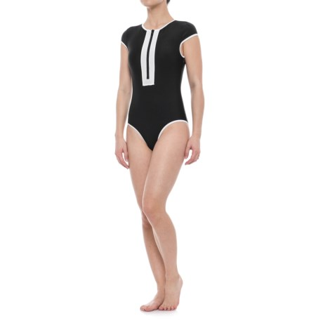 SIA Sia Cap Sleeve Zip-Front One-Piece Swimsuit - Removable Padded Cups (For Women) in Black