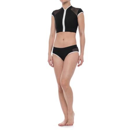 SIA Sia Cropped Rash Guard Bikini Set (For Women) in Black