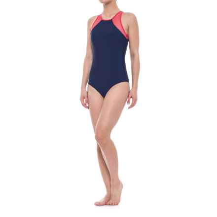 SIA Sia Red Mesh Open-Back One-Piece Swimsuit (For Women) in Navy/Red - Closeouts