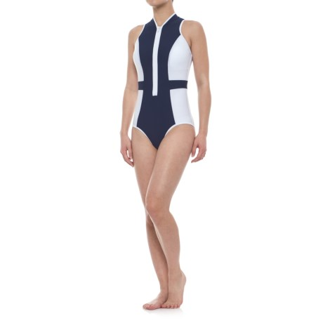SIA Sia Zip-Front Block Solid One-Piece Swimsuit (For Women) in Navy/White