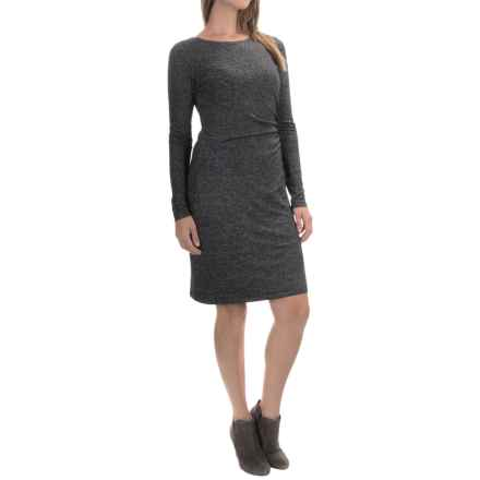 Side-Ruched Dress - Long Sleeve (For Women) in Charcoal - 2nds