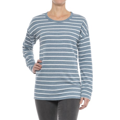 Side Zip Shirt - Long Sleeve (For Women) in Blue/White Stripe