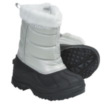 Side Zip Snow Boots (For Kids and Youth) in Silver/Black - Closeouts