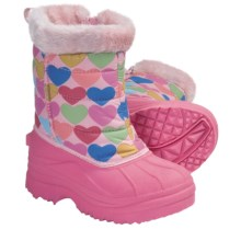 Side Zip Trimmed Hearts Snow Boots (For Toddler and Kid Girls) in Pink/Hearts - Closeouts