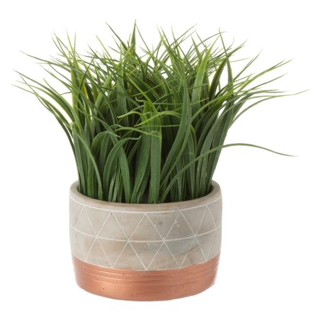 """Siena Floral Accents Grass in Two-Tone Cement Pot - 11"""" in Gray"""
