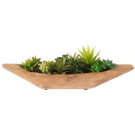 """Siena Floral Accents Succulent Garden in Wooden Pot - 22.5"""" in See Photo"""