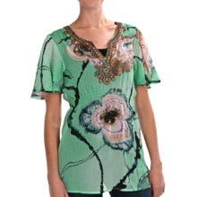 Sienna Rose Embellished Empire Tunic Shirt - Short Sleeve (For Women) in Aqua Floral Feather - Closeouts
