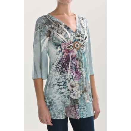 Sienna Rose Embellished Jersey Tunic Shirt - 3/4 Sleeve (For Women) in Happy Feline - Closeouts