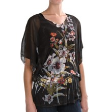Sienna Rose Georgette Dolman Tunic Shirt - Drop Waist, Short Sleeve (For Women) in Black Lily - Closeouts