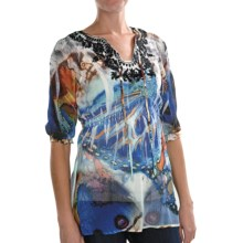 Sienna Rose Georgette Embroidered Tunic Shirt - 3/4 Sleeve (For Women) in Butterfly Deliveries - Closeouts