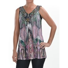Sienna Rose Georgette Tank Top - Embellished (For Women) in Paisley Shamrock - Closeouts