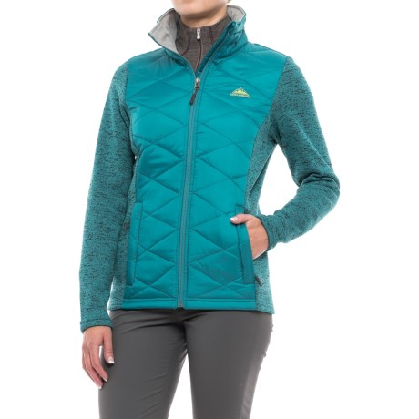 Sierra Expedition Kerr Hybrid Jacket - Insulated (For Women) in Sea/Chartreuse