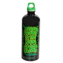 Sigg Classic Aluminum Water Bottle - 1.0L, Screw Top, BPA-Free in Green Is The New Black/Black - Closeouts