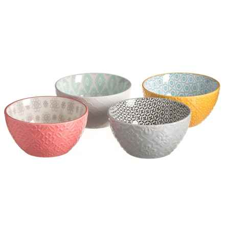 Signature Housewares Contrasting Print Bowls - Set of 4 in Multi - Closeouts