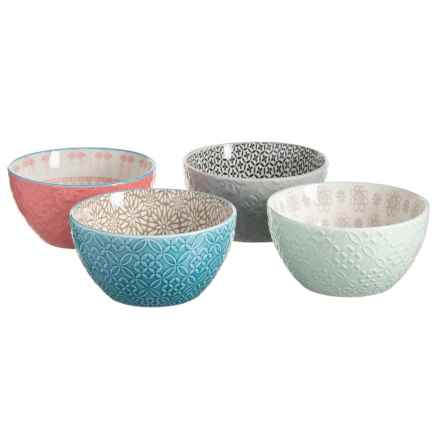 Signature Housewares Contrasting Print Serve Bowls - Set of 4, Stoneware in Multi - Closeouts
