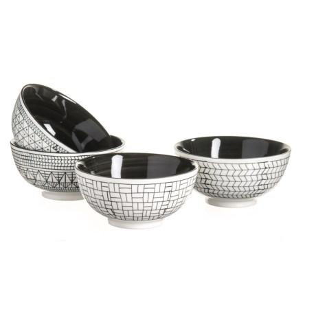 Signature Housewares Geo Abstract Bowls - Set of 4 in Black/White