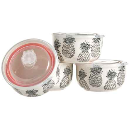 Signature Housewares Monochrome Pineapple Storage Bowls - 4-Pack, Stoneware in Black/White - Closeouts