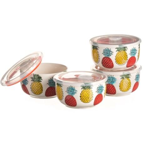 Signature Housewares Pineapple Storage Bowls - 4-Pack, Stoneware in Red/Yellow