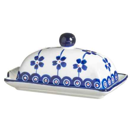Signature Housewares Potter Print Butter Dish in Blue/White - Closeouts
