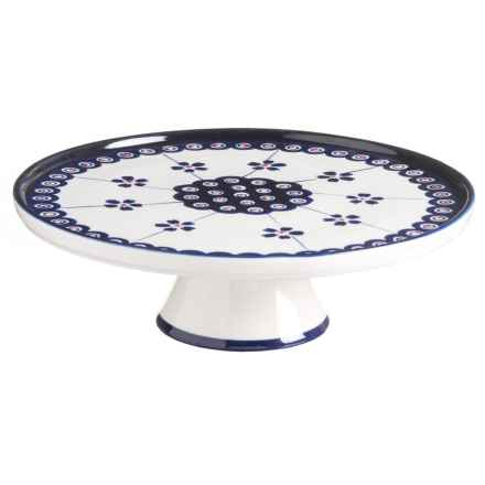 Signature Housewares Potter Print Cake Stand - Stoneware in Blue/White - Closeouts