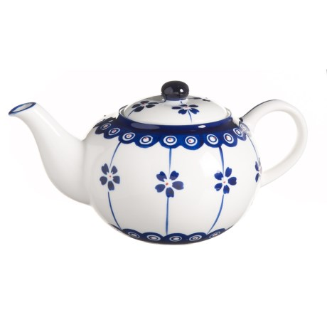 Signature Housewares Potter Print Teapot - Stoneware in Blue/White