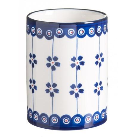 Signature Housewares Potter Print Utensil Holder - Stoneware in Blue/White