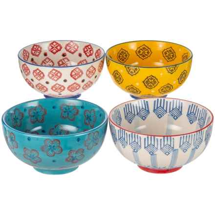 "Signature Housewares Printed Bowls - 4-Pack, 6"" in Multi - Closeouts"
