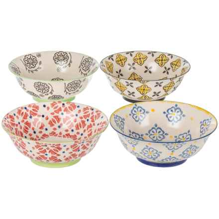 "Signature Housewares Printed Serving Bowls - 4-Pack, 8"" in Multi - Closeouts"