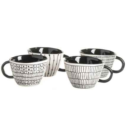 Signature Housewares Sketch Abstract Mugs - Set of 4 in Black/White - Closeouts