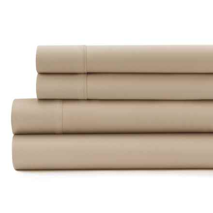 Signet by Baltic Linen Cotton Sateen Sheet Set - Queen, 300 TC in Taupe - Closeouts