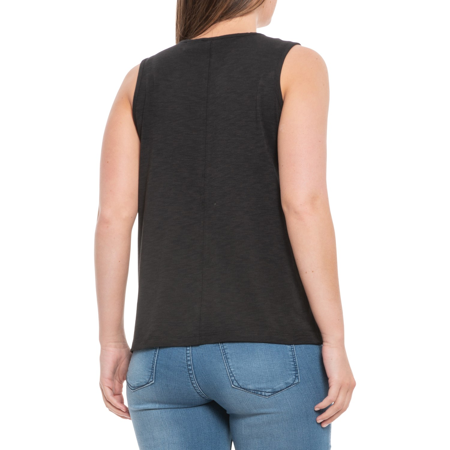 698b38484b7 Sigrid Olsen Black Scoop Neck Slub Tank Top (For Women) - Save 28%